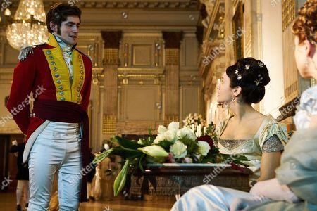 Olivia Cooke as Becky Sharp and Charlie Rowe as George Osborne.