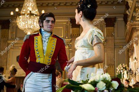 Charlie Rowe as George Osborne and Olivia Cooke as Becky Sharp.