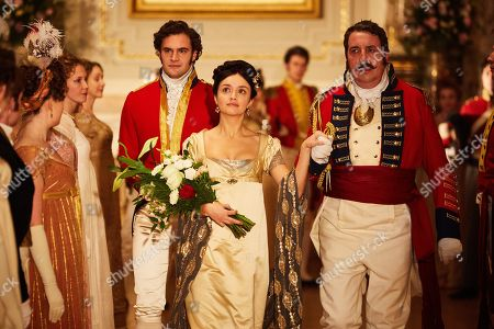 Olivia Cooke as Becky Sharp, Tom Bateman as Rawdon Crawley and Richard Dixon as General Tufto.