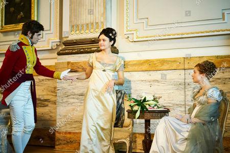 Olivia Cooke as Becky Sharp, Charlie Rowe as George Osborne and Claudia Jessie as Amelia Sedley.
