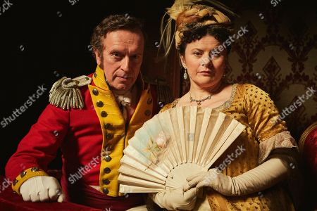 Stock Image of Patrick Fitzsymons as Major Michael O'Dowd and Monica Dolan as Mrs Peggy O'Dowd.