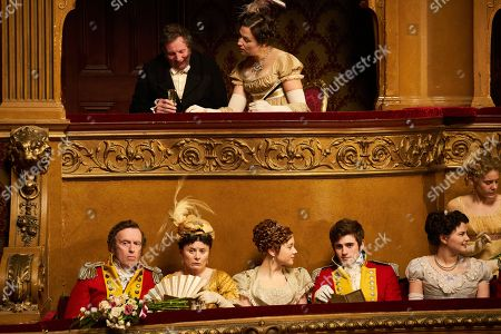 Patrick Fitzsymons as Major Michael O'Dowd, Monica Dolan as Mrs Peggy O'Dowd, Claudia Jessie as Amelia Sedley and Charlie Rowe as George Osborne.