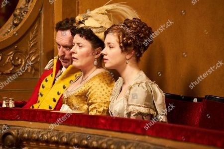 Patrick Fitzsymons as Major Michael O'Dowd, Monica Dolan as Mrs Peggy O'Dowd and Claudia Jessie as Amelia Sedley.