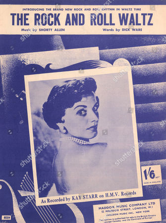 'The Rock and Roll Waltz' - Music Sheet Cover Music by Shorty Allen Words by Dick Ware As Recorded by Kay Starr On H.m.v. Records. an Illustration with A Photo of Kay Starr in the Middle. Original Music Sheet Cover - Photography
