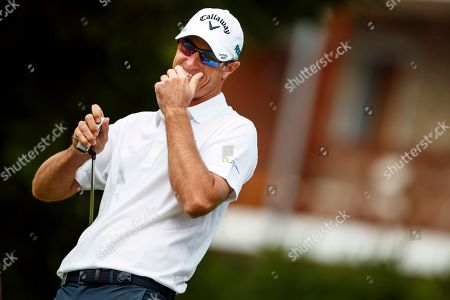 Nicolas Colsaerts of Belgium reacts during the first round of the European Masters golf tournament in Crans-Montana, Switzerland, 06 September 2018.