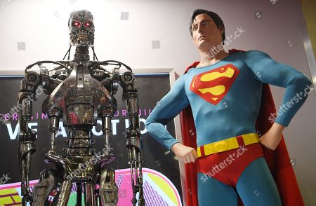 A costume worn by US actor Christopher Reeve in the films Superman and Superman II  and Terminator 2: Judgement Day are shown at a media preview for at television and film memorabilia auction by Prop Store. in London, Britain, 06 September 2018. 600 items will be sold with an expected value of 3.5 million Stirling on 20th September at the auction at BFI IMAX in London.