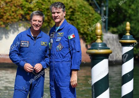 Italian astronauts Paolo Nespoli (R) and Roberto Vittori arrive at the Lido Beach for the 75th annual Venice International Film Festival, in Venice, Italy, 06 September 2018. The festival runs from 29 August to 08 September.