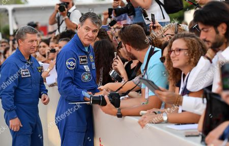 Stock Picture of Italian astronauts Paolo Nespoli (R) and Roberto Vittori (L)