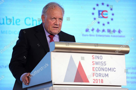 Swiss Federal Councillor Johann Schneider-Ammann speaks at the Sino-Swiss Economic Forum in Beijing, . Schneider-Ammann is on a visit to China to meet with his counterparts in the Chinese government
