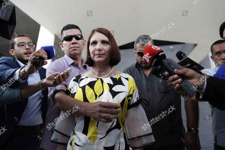 Former Panamanian First Lady Marta Linares, wife of imprisoned Panamanian President Ricardo Martinelli, delivers statements to the media, in Panama City, Panama, 06 September 2018. Linares made a statement today in the Office of the Prosecutor in the corruption case over a scheme of payment of bribes involving local and foreign companies, in which she has stated again her family is the victim of a 'persecution'.