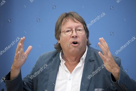 Ludger Volmer former chairman of the German Greens party, during a press call of the new left-wing political movement called Aufstehen, Stand Up