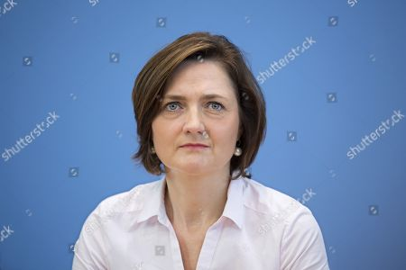 Stock Photo of Simone Lange, mayor of Flensburg and German Social Democrat SPD, during a press call of the new left-wing political movement called Aufstehen, Stand Up