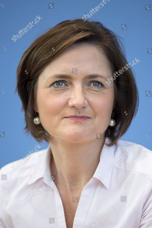Stock Image of Simone Lange, mayor of Flensburg and German Social Democrat SPD, during a press call of the new left-wing political movement called Aufstehen, Stand Up