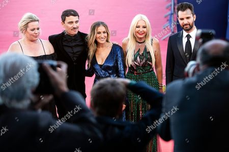 (L-R) US producer Alison Benson, French director Fabien Constant, US actress Sarah Jessica Parker, Italian producers Lady Monika Bacardi and Andrea Iervolino arrive on the red carpet prior to the premiere of 'Here and Now' during the 44th Deauville American Film Festival, in Deauville, France, 06 September 2018. The festival runs from August 31 to September 11.