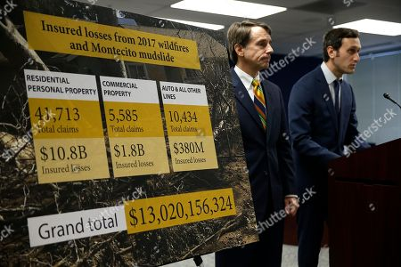 Stock Picture of California Insurance Commissioner Dave Jones, left, stands with research fellow Ted Lamm during a news conference about the costs of recent wildfires, in San Francisco. Jones released the first data on the total insurance claims reported for residential and commercial losses following the Carr and Mendocino Complex wildfires. Commissioner Jones also released updated data for the 2017 California wildfires and 2018 mudslides