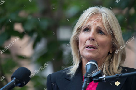 Dr. Jill Biden speaks after walking with members of Walking With The Wounded as they completed the 1,000-mile Walk of America at the Queen Elizabeth II September 11th Garden, in New York