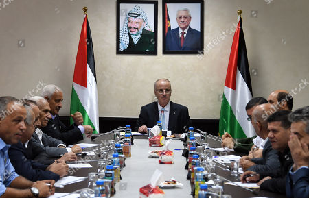 Palestinian Prime Minister, Rami Hamdallah, chairs a meeting of the leaders of the security establishment, in the West Bank city of Ramallah