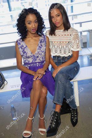 Erinn Westbrook, Chloe Bridges. Erinn Westbrook, left, and Chloe Bridges attend the Tadashi Shoji Runway Show at Spring Studios during New York Fashion Week on in New York