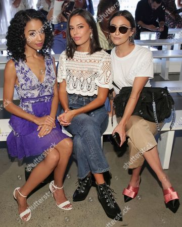 Erinn Westbrook, Chloe Bridges. Erinn Westbrook, left, and Chloe Bridges, center, attend the Tadashi Shoji Runway Show at Spring Studios during New York Fashion Week on in New York