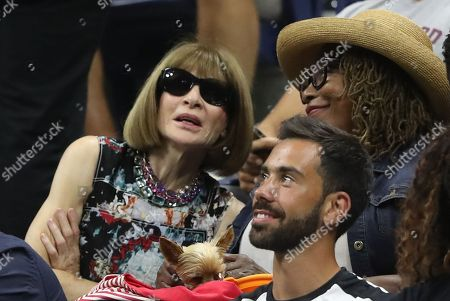 Anna Wintour with Oracene Price and Serena Williams's dog Chip in her Player's Box as Serena Williams plays in her semi-final
