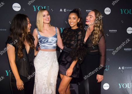 Nicole Kang, Elizabeth Lail, Penn Badgley, Shay Mitchell, Kathryn Gallaghe. Nicole Kang, from left, Elizabeth Lail, Penn Badgley, Shay Mitchell, and Kathryn Gallagher
