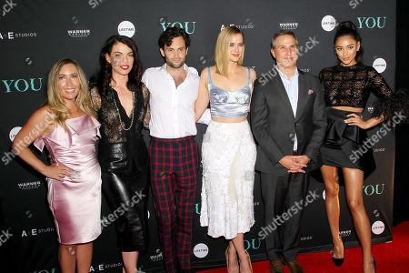 Caroline Kepnes (Author), Sera Gamble (Exec. Producer), Penn Badgley, Elizabeth Lail, Paul Buccieri (Pres. A+E Networks), Shay Mitchell
