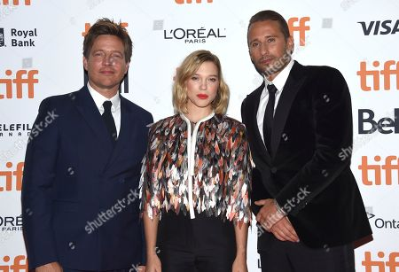 """Thomas Vinterberg, Lea Seydoux, Matthias Schoenaerts. Thomas Vinterberg, from left, Lea Seydoux and Matthias Schoenaerts attend a screening for """"Kursk"""" on day 1 of the Toronto International Film Festival at the Princess of Wales Theatre, in Toronto"""