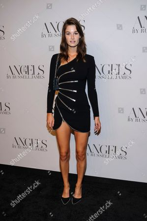 """Ophelie Guillermand attends the """"Angels"""" by Russell James book launch and exhibition at Stephan Weiss Gallery, in New York"""