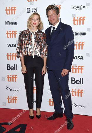 """Lea Seydoux, Thomas Vinterberg. Lea Seydoux, left, and Thomas Vinterberg attend a screening for """"Kursk"""" on day 1 of the Toronto International Film Festival at the Princess of Wales Theatre, in Toronto"""