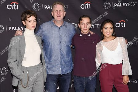 "Brigette Lundy-Paine, Michael Rapaport, Keir Gilchrist, Amy Okuda. Brigette Lundy-Paine, from left, Michael Rapaport, Keir Gilchrist and Amy Okuda attend the 2018 PaleyFest Fall TV Previews ""Atypical"" at The Paley Center for Media, in Beverly Hills, Calif"
