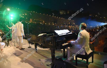Andrea Bocelli and son Matteo Bocelli perform