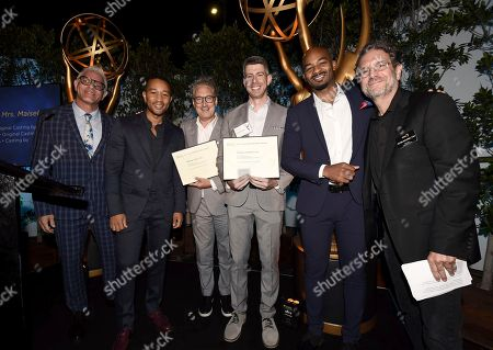 "Bernard Telsey, Patrick Goodwin, Howard Meltzer, John Legend, Brandon Victor Dixon, Peter Golden. Bernard Telsey, and Patrick Goodwin, Emmy nominees for outstanding casting for a limited series, movie or special for ""Jesus Christ Superstar Live In Concert,"" center, pose with Howard Meltzer, from left, John Legend, Brandon Victor Dixon and Peter Golden at The Television Academy's Casting Directors Nominee Reception at Mr. C Beverly Hills, in Beverly Hills, Calif"