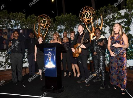 Eric Lyn, Chris Weaver, Moriah Formica, Courtney Harrell, Janice Freeman, India Carney, Luke Wade, Paxton Ingram, Sophia Dion. Eric Lyn, from left, Chris Weaver, Moriah Formica, Courtney Harrell, Janice Freeman, India Carney, Luke Wade, Paxton Ingram and Sophia Dion perform at The Television Academy's Casting Directors Nominee Reception at Mr. C Beverly Hills, in Beverly Hills, Calif