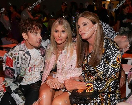 Steven Klein, Sophia Hutchins, Caitlyn Jenner. Steven Klein, from left, Sophia Hutchins and Caitlyn Jenner attend the Jeremy Scott Runway Show at Spring Studios during New York Fashion Week on in New York