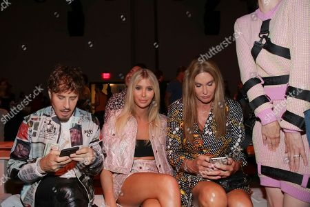Steven Klein, Sophia Hutchins, Caitlyn Jenner. Steven Klein, from left, Sophia Hutchins, and Caitlyn Jenner attend the Jeremy Scott Runway Show at Spring Studios during New York Fashion Week on in New York