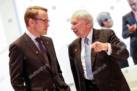 President of the Central Bank of Germany Jens Weidmann (L) talks to Governor of the National Bank of Austria and member of the European Central Bank (ECB) governing council, Ewald Nowotny (R) during an Informal Meeting of Economic and Financial Affairs Ministers (ECOFIN) at the Austria Center Vienna (ACV) in Vienna, Austria, 07 September 2018. Austria hosts a two-day Informal Meeting of Economic and Financial Affairs Ministers (ECOFIN) in Vienna on 07 and 08 September. Austria took over its third Presidency of the European Council from July 2018 until December 2018.