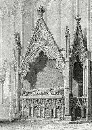 Stock Picture of Tomb with Effigy Formerly Believed to Be That of Gervase Alard (1270-1340) Admiral of the Cinque Ports and First Recorded Mayor of Winchelsea (in 1294) in the Church of St Thomas the Martyr Winchelsea Sussex. the Tomb is Now Thought to Be That of Gervase's Brother (or Son Or Grandson) Stephen Who Was Also an Admiral of the Cinque Ports. Engraved by H Le Keux From A Drawing by Edward Blore,1824