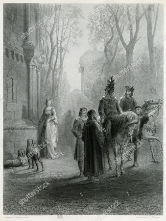 Lancelot Parts From Elaine . Drawn by Gustave Dore Engraved by C H Jeens