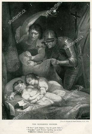 Edward V and Richard Duke of York Asleep in the Tower of London About to Be Murdered Allegedly On the Orders of Their Uncle Richard Duke of Gloucester (richard Iii). From A Painting by James Northcote in 'The Sketch', 23 December 1896, Page 343