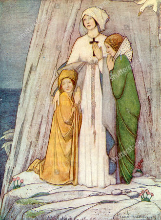 Saint Etheldreda (or Ethelthrith Or Aethelthryth) Abbess of Ely Daughter of King Anna of East Anglia. Seen Here with Two Nuns Fleeing From Her Husband Who Wanted to Consummate Their Marriage. She Founded A Monastery at Ely in 673. . Cayley Robinson in Saints & Their Stories