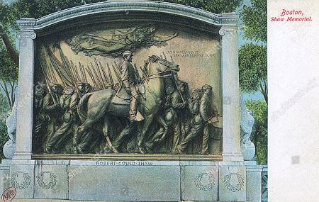 Robert Gould Shaw (1837-1863) Monument Beacon Street Boston Massachusetts Usa. Depicting Shaw As Commander of the All-black 54th Massachusetts Infantry Regiment Marching with His Men Down Beacon Street On 28 May 1863 During the American Civil War. Unattributed Postcard