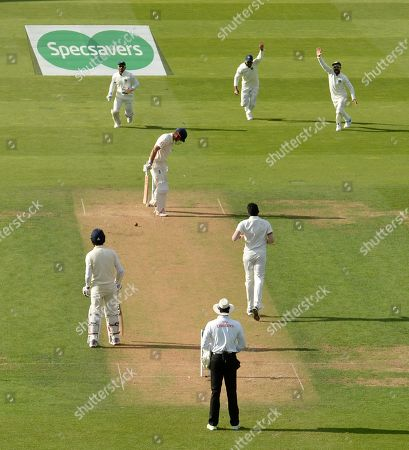 India celebrate the wicket of Alistair Cook