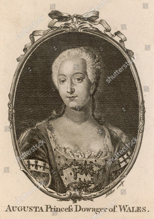 Augusta of Saxe-gotha Dowager Princess of Wales (1719 - 1772) Wife of Frederick Prince of Wales the Son of George Ii and Mother of George Iii. Engraving by Miller