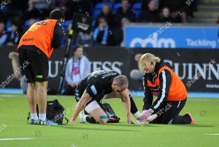 Stuart Hogg - Glasgow Warriors full back receives treatment for an injured ankle. Glasgow Warriors v Munster, Pro14, Scotstoun Stadium, Glasgow, Scotland, Friday 7th September 2018. ***Please credit: ©Fotosport/David Gibson***