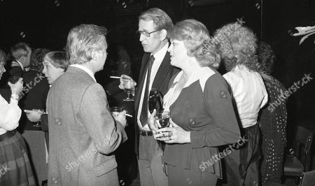 Bryan Forbes, Lance Percival, Lynda Baron, with other guests at aftershow LWT party at South Bank studios.