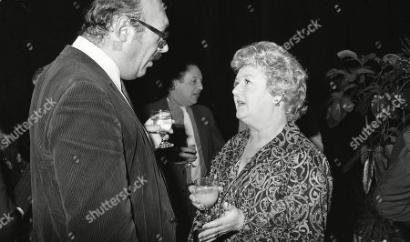 Bernard Bresslaw, Joan Sims, with other guests at aftershow LWT party at South Bank studios.
