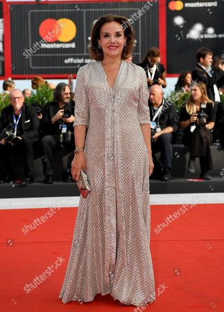 Stock Image of Organizer of 'Miss Italy' contest, Patrizia Mirigliani, arrives on the red carpet at the 75th annual Venice International Film Festival, in Venice, Italy, 07 September 2018. The movie is presented in official competition 'Venezia 75' at the festival running from 29 August to 08 September.