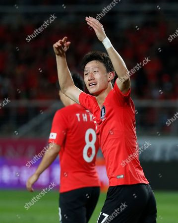 Lee Jae-sung of South Korea celebrates after scoring a goal during the International Friendly soccer match between South Korea and Costa Rica at the Goyang Stadium in Gyeonggi-do, South Korea, 07 September 2018.