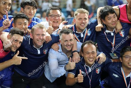 Taiwan head coach Gary White (C) reacts after the International Friendly soccer match between Taiwan and Malaysia, in Taipei, Taiwan, 07 September 2018.