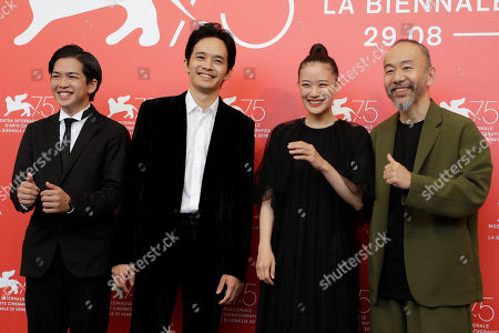 Shinya Tsukamoto, Yu Aoi, Sosuke Ikematsu, Ryusei Maeda. Director Shinya Tsukamoto, from right, actors Yu Aoi, Sosuke Ikematsu and Ryusei Maeda pose for photographers at the photo call for the film 'Killing' at the 75th edition of the Venice Film Festival in Venice